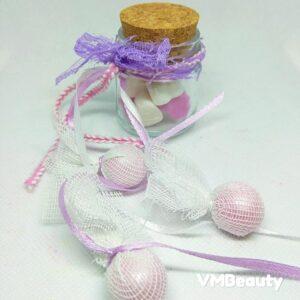 Μπομπονιέρα Βαζακι με αρωματικά σαπουνακια καρδούλες