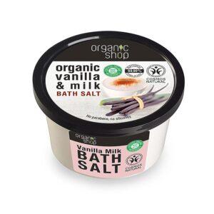 Organic Shop Bath salt Vanilla milk , Άλατα για το Μπάνιο Βανίλια & Γάλα