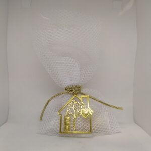 Μπομπονιέρα γάμου πουγκί με μεταλλικό στοιχείο