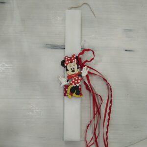 Χειροποίητη Λαμπάδα με Ξύλινο Διακοσμητικό Minnie