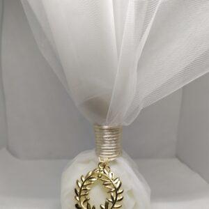 Μπομπονιέρα γάμου με χρυσό μεταλλικό στεφανάκι
