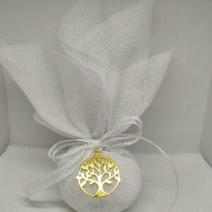 Μπομπονιέρα γάμου μεταλλικό δεντράκι της ζωής με λευκή γάζα