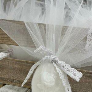 Μπομπονιέρα βάπτισης σαπουνάκι με σχέδιο τριαντάφυλλο